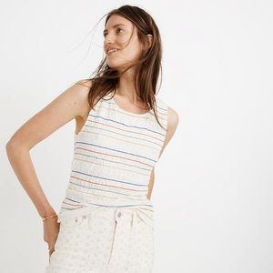 MADEWELL | White Rainbow Stitched Smocked Tank Top